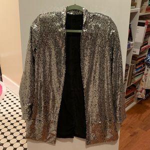 Long Silver Sequin Nasty Gal Blazer Jacket